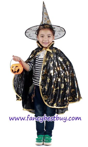 ผ้าคลุมพ่อมดแม่มด สีทอง ยาว 80 ซม. สำหรับแต่งเป็น ชุดแฟนซีเด็ก แบบชุดพ่อมดและแม่มด ในวันฮาโลวีน (ไม่รวมหมวกและฟักทอง) (ขายปลีก ไม่ต้องซื้อคู่กับชุดแฟนซ๊)