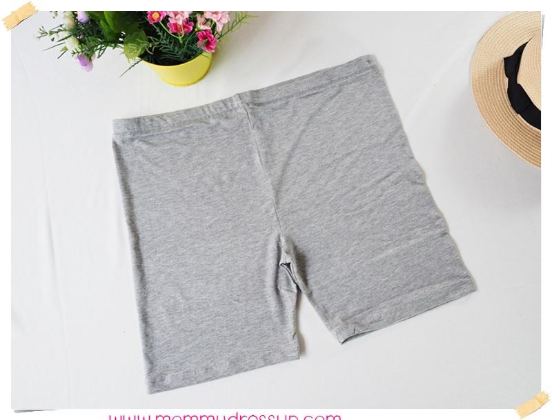 กางเกงเลกกิ้งขาสั้น สีเทาอ่อน เอวปรับระดับได้