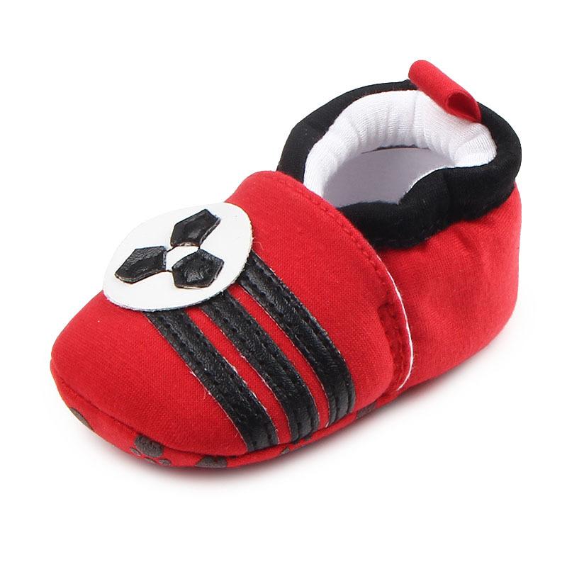 รองเท้าเด็กอ่อน 0-12เดือน รองเท้าเด็กชาย เด็กหญิง สีแดงลายฟุตบอล