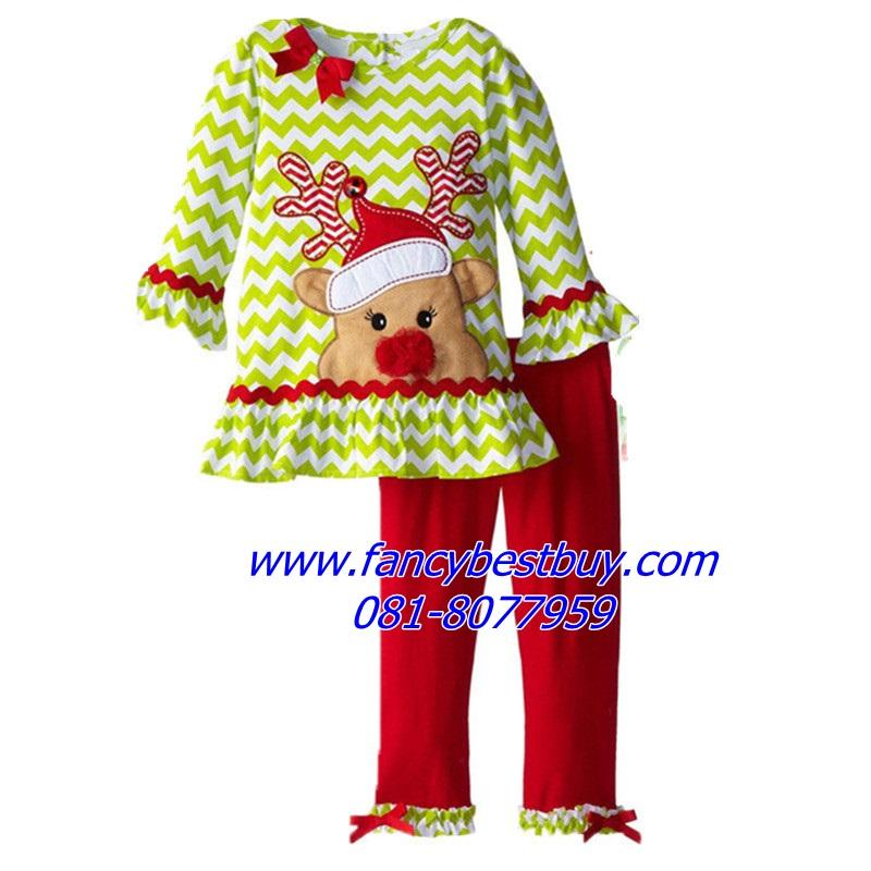 ชุดคริสมาสเด็กหญิง เสื้อลาย เรนเดียร์ +กางเกง Christmas Costume สำหรับ เทศกาลวันคริสมาส มีขนาด 110