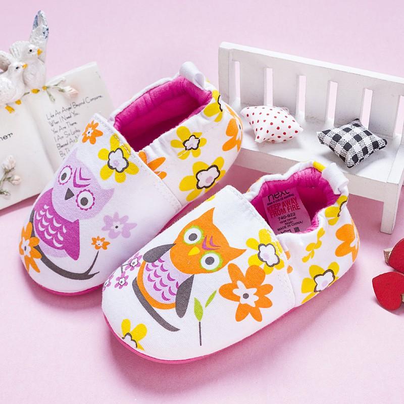 รองเท้าเด็กอ่อน 0-12เดือน รองเท้าเด็กชาย เด็กหญิง ลายนกฮูก