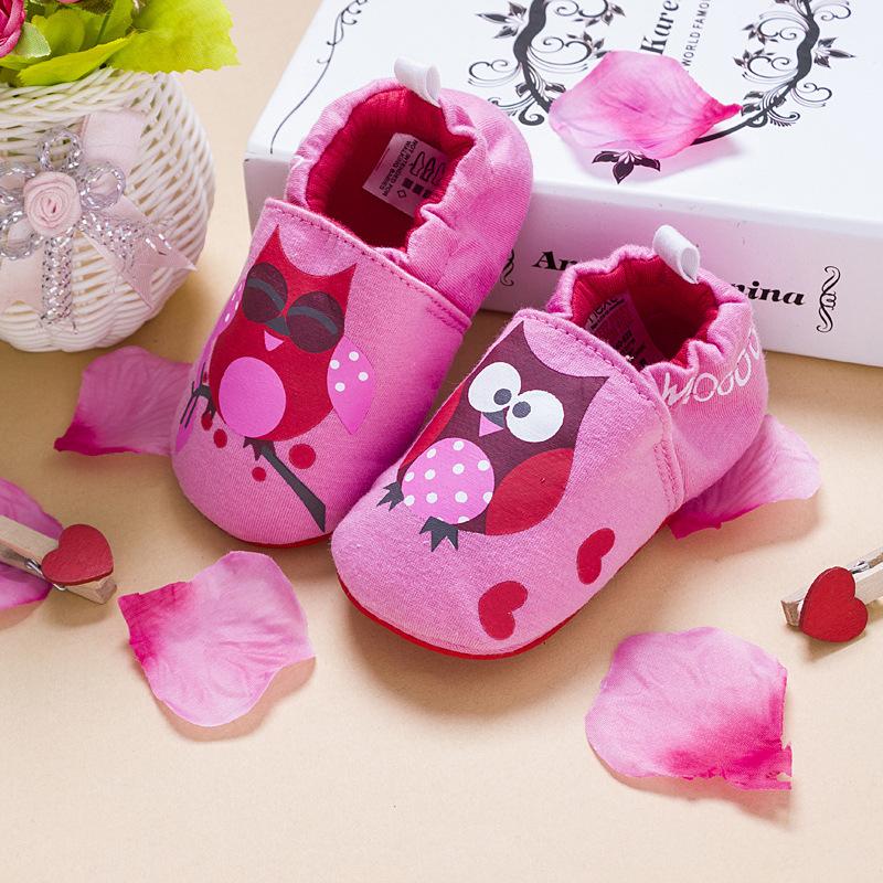 รองเท้าเด็กอ่อน 0-12เดือน รองเท้าเด็กชาย เด็กหญิง สีชมพูลายนกฮูก