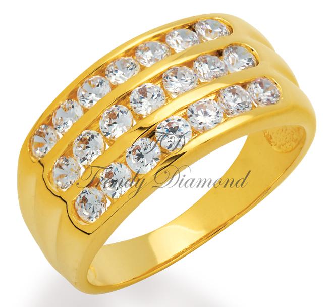 แแหวนเพชรCZ เพชรสวิส แหวนล็อก 3 แถว สีทอง
