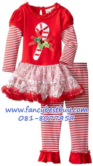 ชุดคริสมาสเด็กหญิง เสื้อลายคริสมาส+กางเกง Christmas Costume สำหรับ เทศกาลวันคริสมาส มีขนาด 100