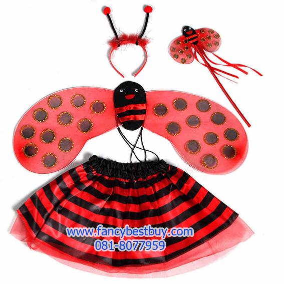 ชุดเด็กแฟนซี ชุดแมลงเต่าทอง สำหรับเด็กขนาด 95-130 ซม. (1ชุด มี ปีก+กระโปรง+ที่ประดับศรีษะ+ไม้วิเศษ)