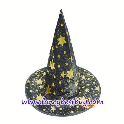 หมวกพ่อมดแม่มด สีทอง สำหรับแต่งเป็น ชุดแฟนซีเด็กในวันฮาโลวีน แบบชุดพ่อมดและแม่มด สูง36ซม. เส้นศูนย์กลาง 20 ซม. (ขายปลีก ไม่ต้องซื้อคู่กับชุดแฟนซ๊)
