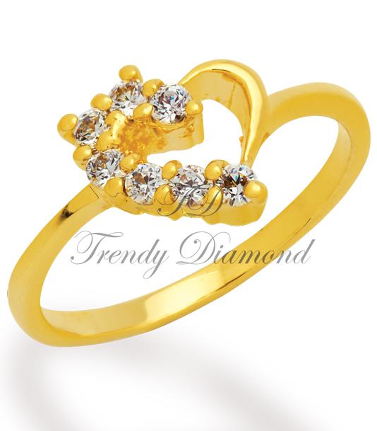 แหวนเพชรเตยครึ่ึ่งหัวใจ สีทอง