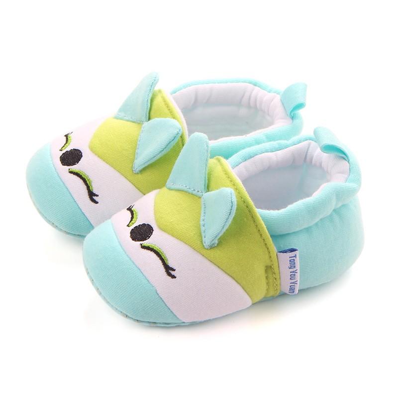 รองเท้าเด็กอ่อน 0-12เดือน รองเท้าเด็กชาย เด็กหญิง สีเขียวอมฟ้า