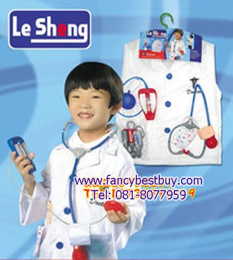 ชุดแฟนซีคุณหมอ สีขาว ใช้ได้ทั้งเด็กชายและเด็กหญิง (เสื้อกาวสีขาว+อุปกรณ์ทั้งหมด) ขนาดฟรีไซด์สำหรับเด็ก 95-125 ซม. อายุ 3-7 ขวบ