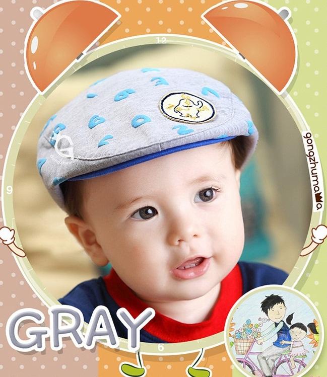 หมวกแก๊ปสีเทาตัวเลขสีฟ้าลายตัวเลข สำหรับเด็ก 6เดือนถึง2ปี น่ารักมากๆค่ะ