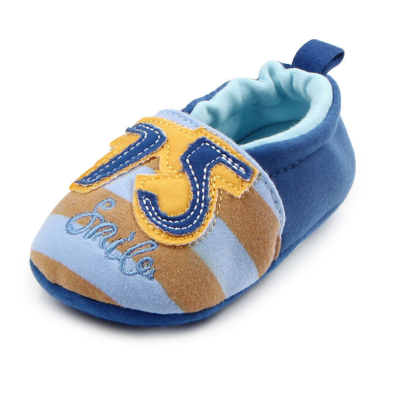 รองเท้าเด็กอ่อน 0-12เดือน รองเท้าเด็กชาย เด็กหญิง สีฟ้าลาย 75