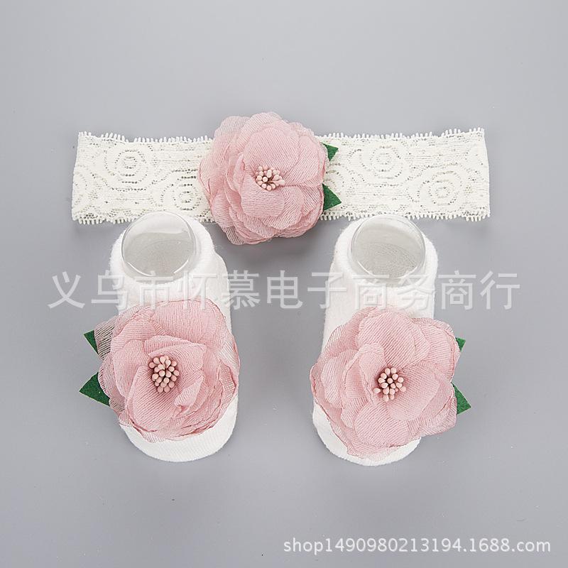 เซ็ทคุณหนูแรกเกิด มีที่คาดผมติดดอกไม้สีชมพู1ดอก+ถุงเท้าสีขาวติดดอกไม้สีชมพู1คู่ น่ารักมากๆเลยค่ะ
