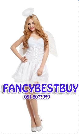 ชุดนางฟ้าสีชาวมีปีก White Angel ชุดแฟนซีผู้หญิง ขนาดฟรีไซด์