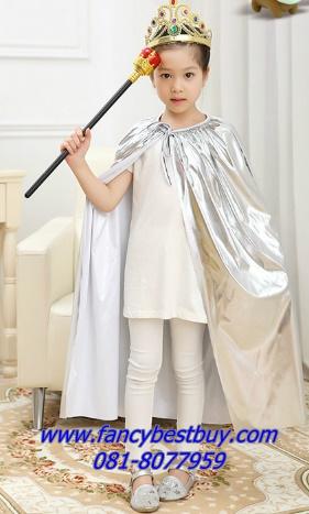 ผ้าคลุมเจ้าชายหรือเจ้าหญิง สีเงิน เนื้อผ้าแบบเงา ยาว 90 ซม. (เฉพาะผ้าคลุม ไม่มีคทา และ มงกุฎ สามารถซื้อเพิ่มได้)