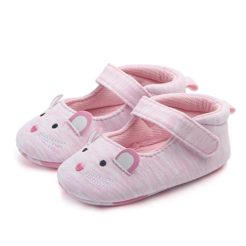 รองเท้าเด็กอ่อน 0-12เดือน รองเท้าเด็กชาย เด็กหญิง ลายหนูชมพู