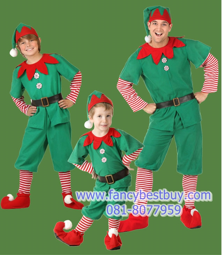 ชุดเอฟ คริสมาส Christmas Elf Boy สำหรับ เทศกาลคริสมาส ขนาด 150-160 รวม เสื้อ+กางเกง+หมวก+เข็มขัด+รองเท้า (ส่วนขาวแดงเย็บติดกับเสื้อและกางเกง)