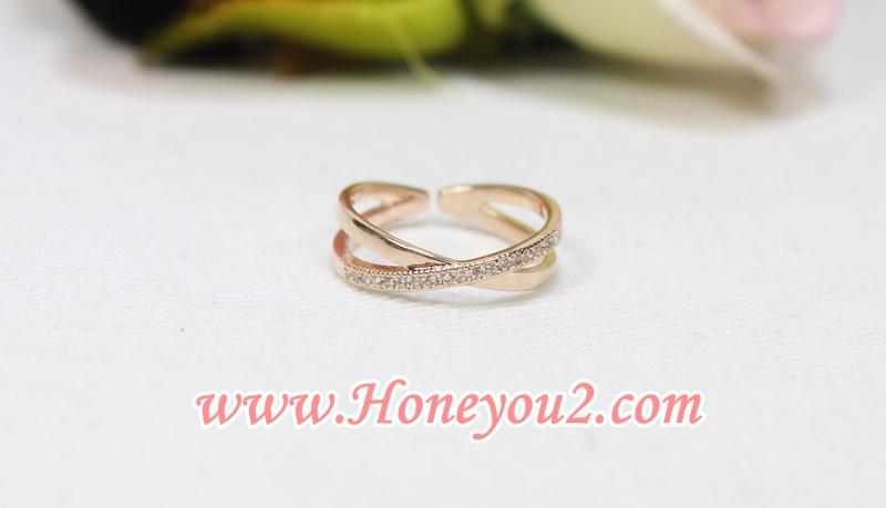 แหวนไขว้ขัดทราย สีทอง