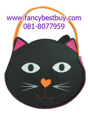 กระเป๋าสะพายลายแมว สำหรับประกอบเทศกาลฮาโลวีน ขนาด 17*15 ซม. หนา 6 ซม. (ขายคู่กับชุดแฟนซี)