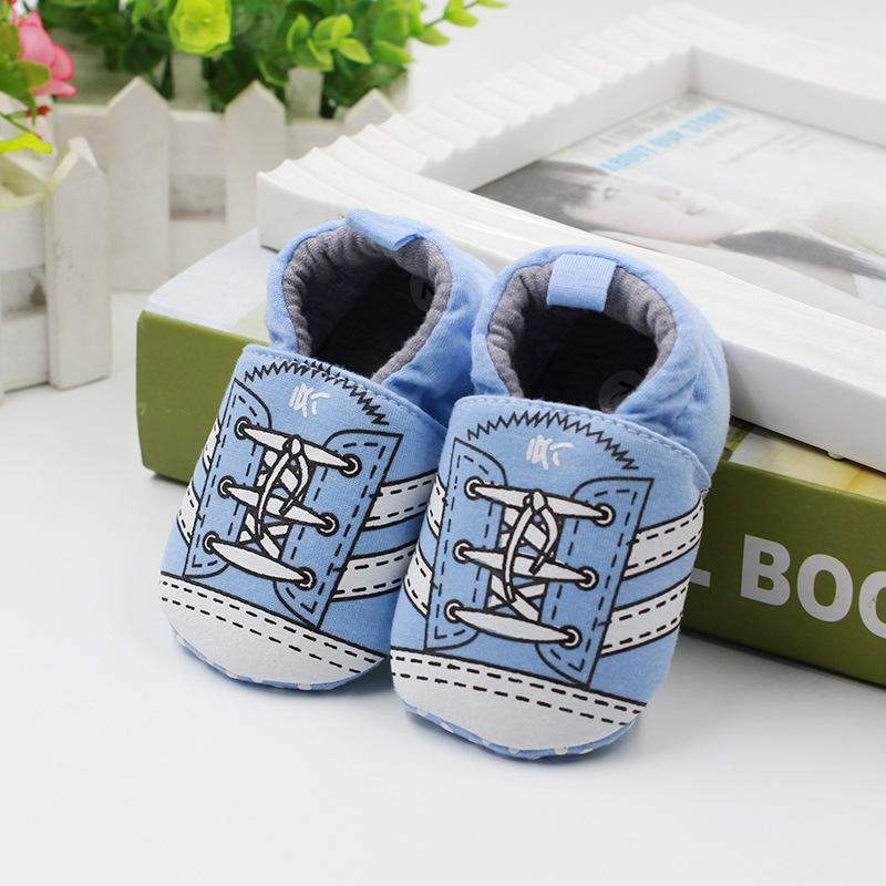 รองเท้าเด็กอ่อน 0-12เดือน รองเท้าเด็กชาย เด็กหญิง สีฟ้าลายรองเท้าผ้าใบ
