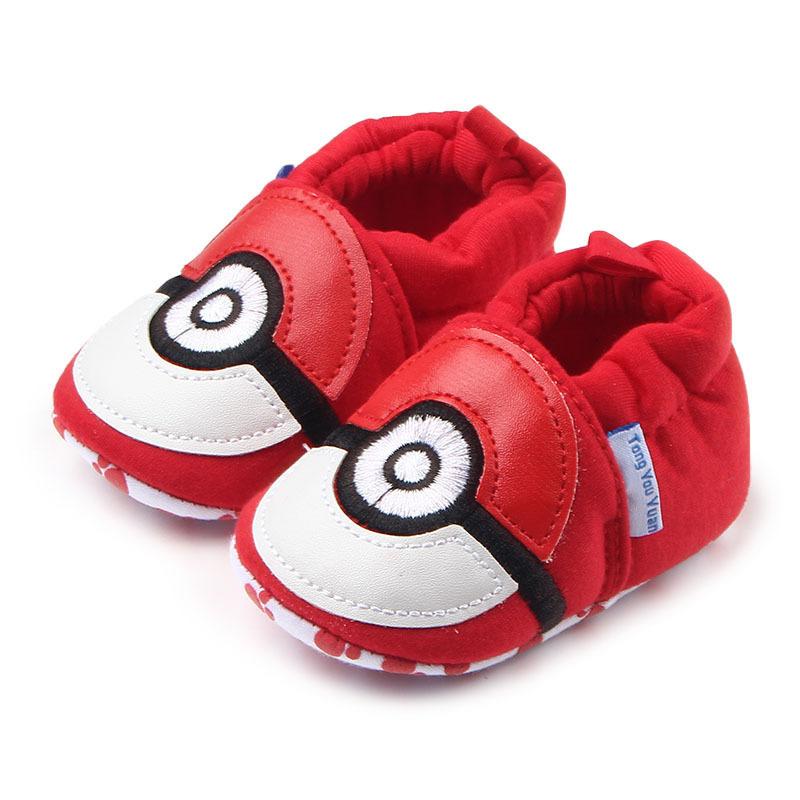 รองเท้าเด็กอ่อน 0-12เดือน รองเท้าเด็กชาย เด็กหญิง สีแดงลายไข่โปเกม่อน