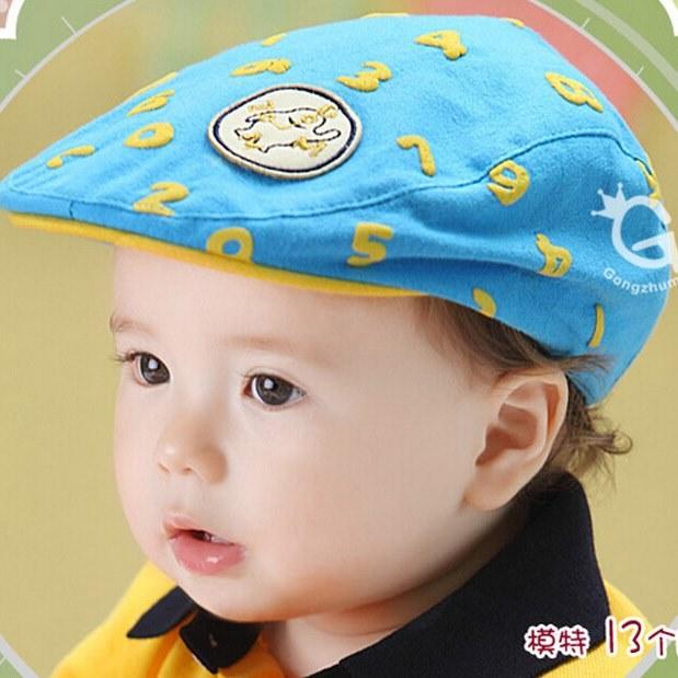 หมวกแก๊ปสีฟ้าตัวเลขสีเหลืองลายตัวเลข สำหรับเด็ก 6เดือนถึง2ปี น่ารักมากๆค่ะ