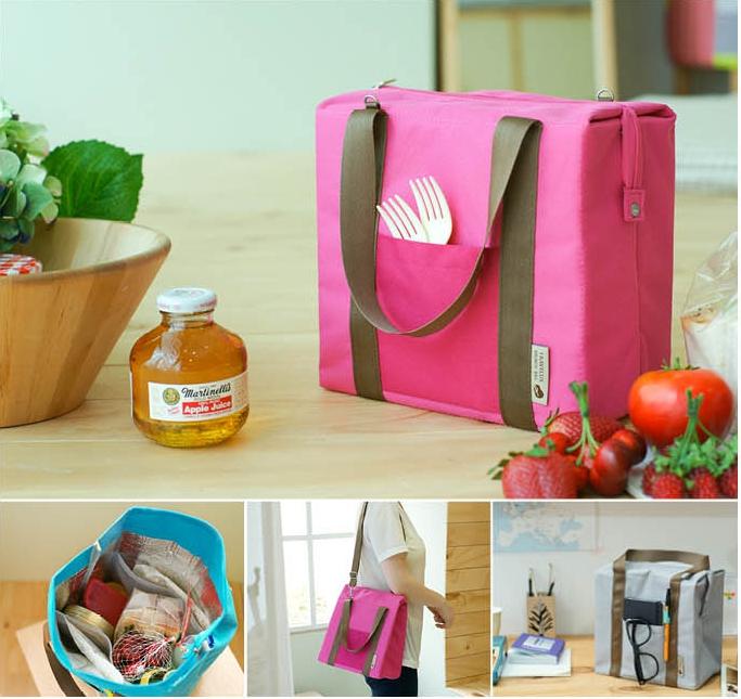 กระเป๋าผ้าบุฟอย เก็บรักษาอุณหภูมิ ถนอมอาหาร ปรับเปลี่ยนได้หลายทรง