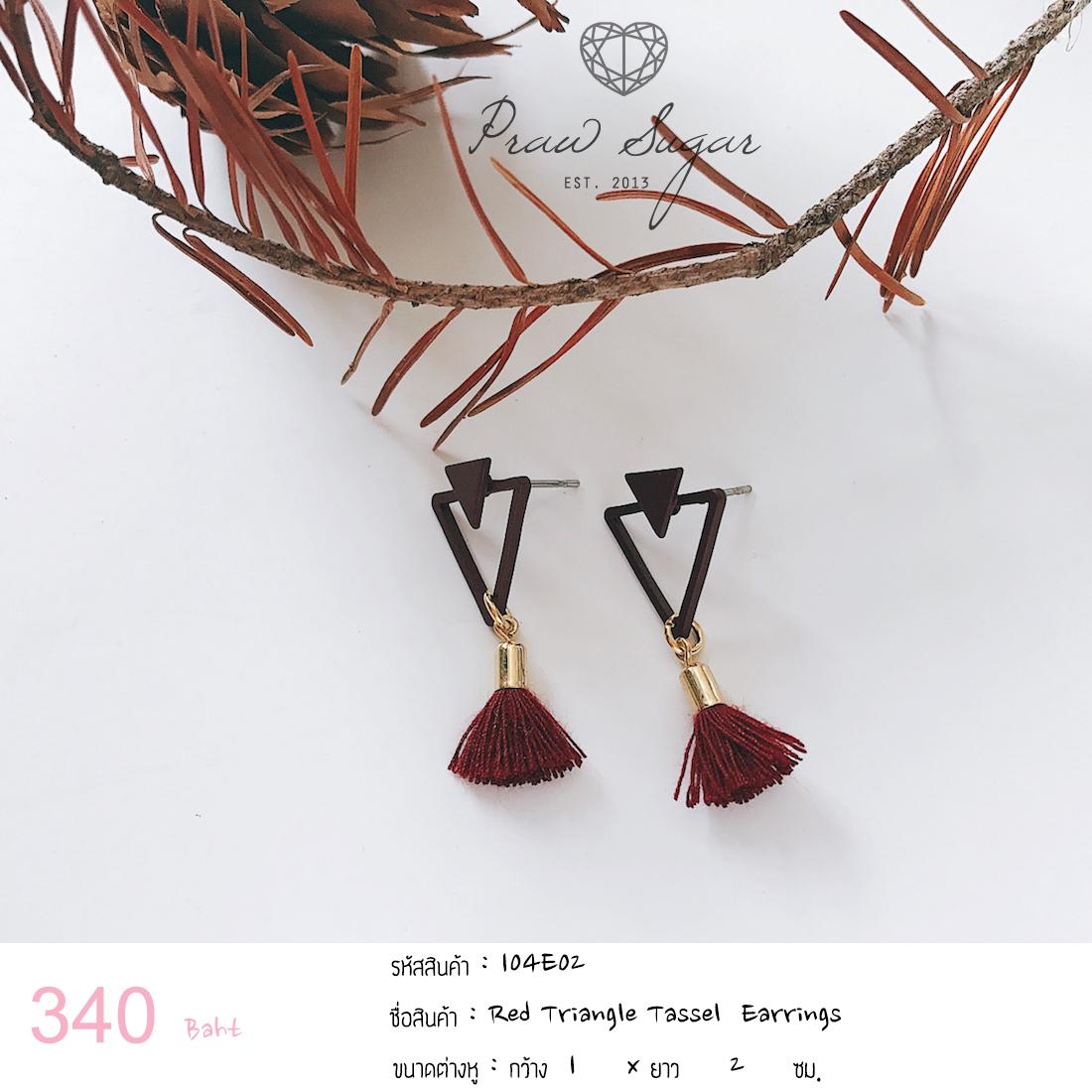 Red Triangle Tassel Earrings