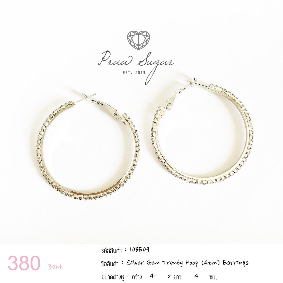 Silver Gem Trendy Hoop (4cm) Earrings