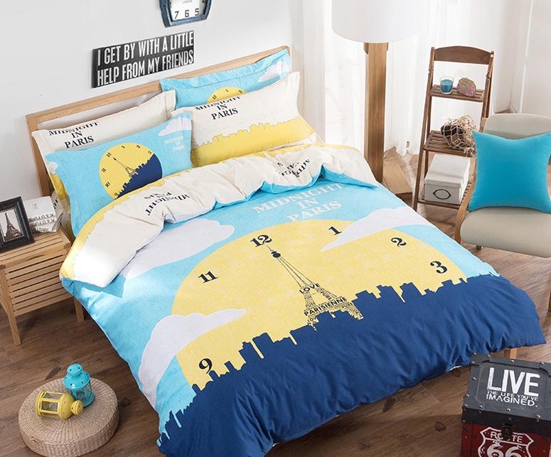 #ชุดผ้าปูที่นอน มีผ้าปูที่นอน1ผืน ปลอกหมอน2ชิ้น และผ้าห่ม1ผืน ลายนาฬิกาสีเหลือง