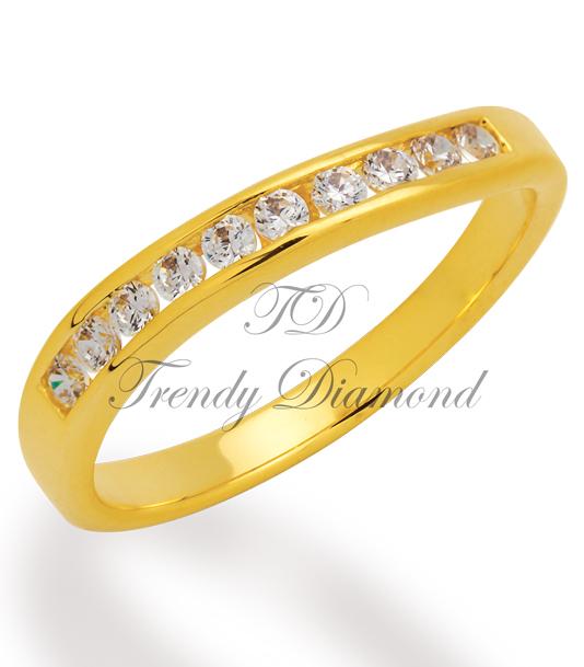 แหวนเพชรเกลียวล็อค สีทอง