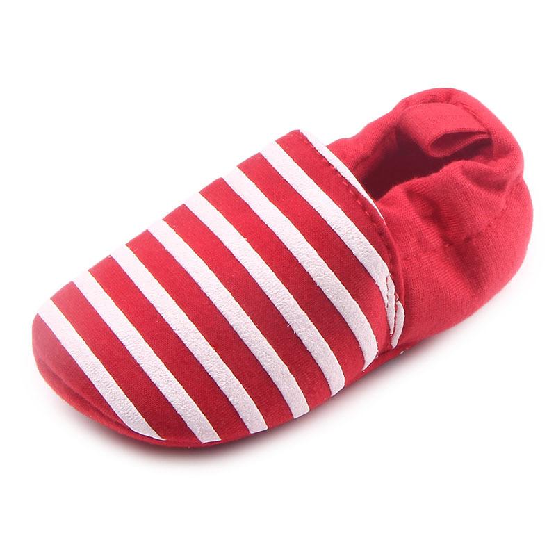 รองเท้าเด็กอ่อน 0-12เดือน รองเท้าเด็กชาย เด็กหญิง สีแดงลายขาว