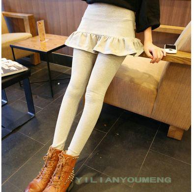 กางเกงเลกกิ้ง สีเทา เย็บติดกระโปรง เสมือนเป็น2ตัว เอวปรับสายได้ น่ารักมากๆ