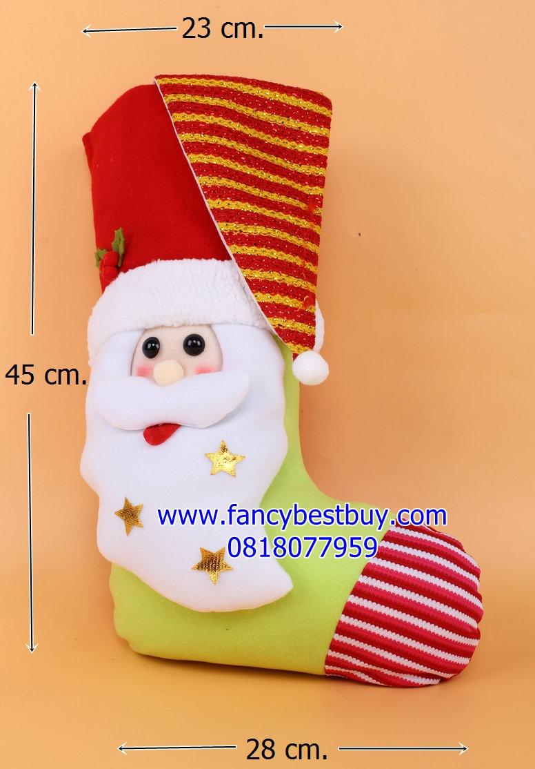 ถุงเท้าขนาดใหญ่สำหรับใส่ของขวัญ จาก Santa Claus ลายแซนต้า ขนาด 45*23*25 ซม. (สวยมาก เด็กๆ ชอบ) (ไม่ต้องซื้อคู่ชุดแฟนซี)