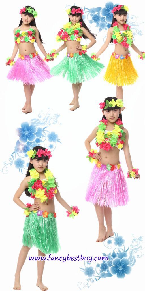 ชุดแฟนซีระบำฮาวาย ประกอบด้วย คล้องศรีษะ+คล้องคอ+กำไลแขน1คู่+ประโปรง (ไม่รวมดอกไม้คาดอก) สำหรับเด็ก 5-8 ขวบ