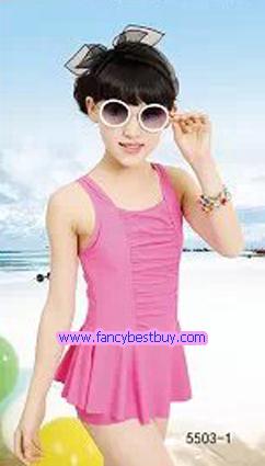 ชุดว่ายน้ำเด็กหญิง แบบ 1 ชิ้น สีชมพู มีขนาด XL, XXL