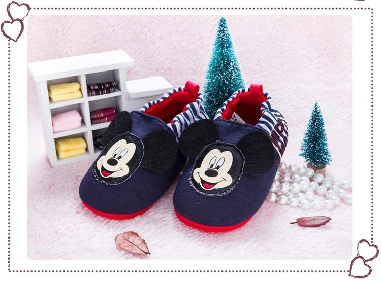 รองเท้าเด็กอ่อน 0-12เดือน รองเท้าเด็กชาย เด็กหญิง ลายการ์ตูน มิกกี้เมาส์ สีกรม