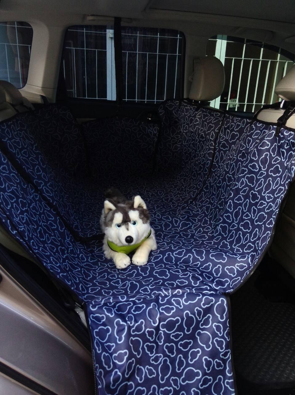 ที่รองเบาะรถยนต์สำหรับสุนัข ด้านหลัง 2 ที่นั่ง 2 in 1 สีกรม ลายเมฆ