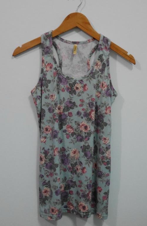 jp4108 เสื้อกล้ามผ้ายืดลายดอกไม้ โทนสีเขียว รอบอก 33-35 นิ้ว