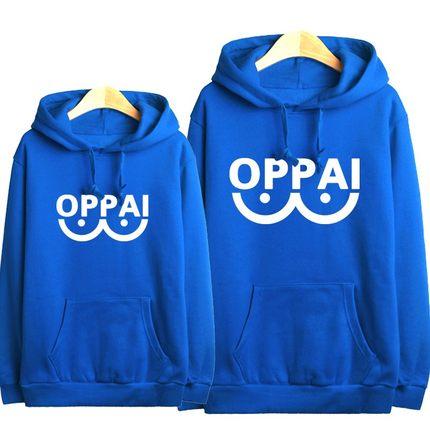 เสื้อฮู้ดกันหนาวไซตามะ One Punch Man(OPPAI)**สีน้ำเงิน**
