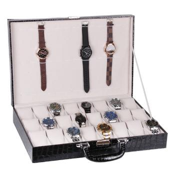 กล่องเก็บนาฬิกางานหนังแบบกระเป๋าหิ้ว มีกุญแจล็อก 24 เรือน