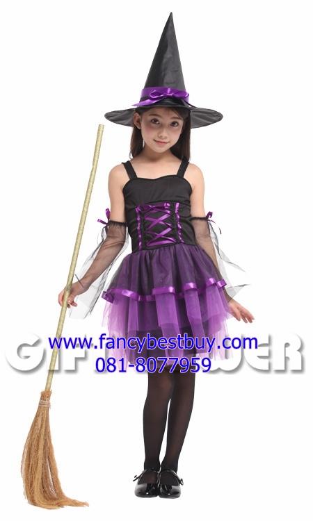 ชุดแม่มดน้อยสำหรับงานแฟนซี วันฮาโลวีน Lovely Purple Witch ขนาด M (รุ่นนี้รวมถุงมือแขน)