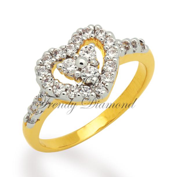 แหวนเพชร Two Hearth สีทอง