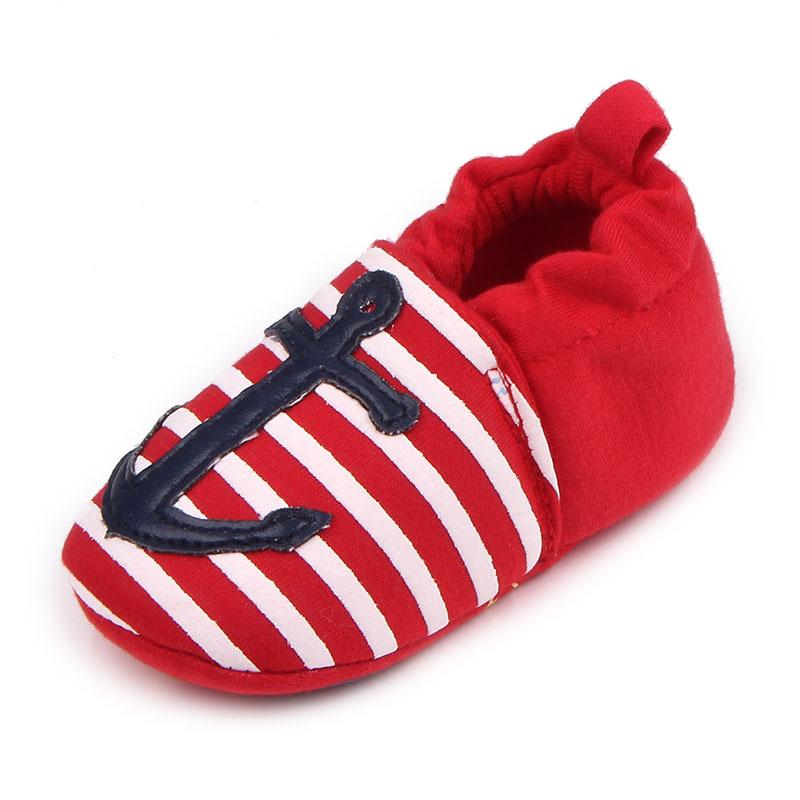 รองเท้าเด็กอ่อน 0-12เดือน รองเท้าเด็กชาย เด็กหญิง สีแดงลายสมอ