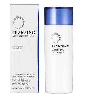Shiseido Transino Whitening Clear Milk โลชั่นบำรุงผิวสำหรับผู้เป็นฝ้ากระผสมTranexamic acid ผิวหน้าขาวลดการก่อตัวของเม็ดสี melanin เหมาะสำหรับการใช้แก้ปัญหาฝ้า เน้นเรื่องการรักษารอยดำต่างๆ รอยสิว ฝ้ากระ รอยแผลตามร่างกาย ช่วยให้ใบหน้ากลับมาดูใสได้อย่างเห็นผ