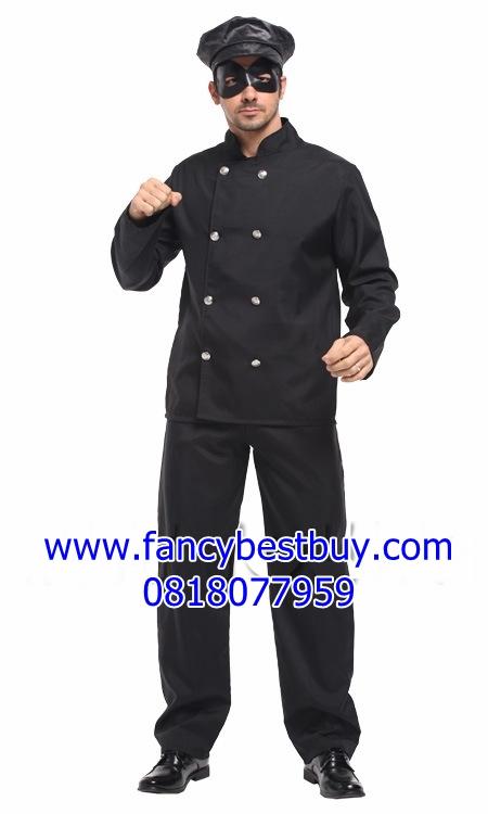 ชุดแฟนซีผู้ชาย Bruce Lee บรูชลี ชุดหน้ากากดำ Masked Knight ขนาดฟรีไซด์