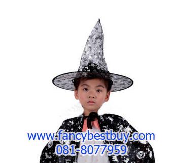 หมวกพ่อมดแม่มด สีเงิน สำหรับแต่งเป็น ชุดแฟนซีเด็กในวันฮาโลวีน แบบชุดพ่อมดและแม่มด สูง36ซม. เส้นศูนย์กลาง 20 ซม. (ขายปลีก ไม่ต้องซื้อคู่กับชุดแฟนซ๊)