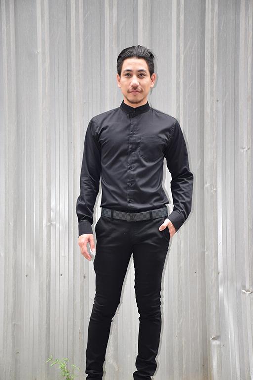 เสื้อเชิ้ตสีดำ รุ่นคอจีน