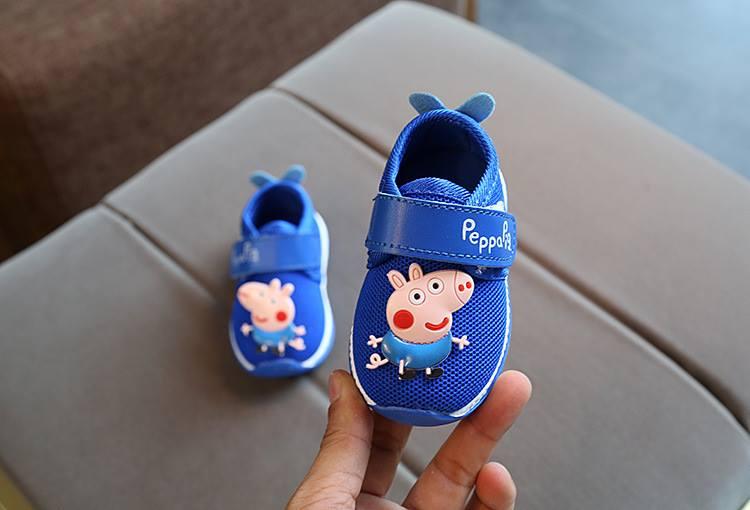 รองเท้าเด็กอ่อน 0-12เดือน รองเท้าเด็กชาย เด็กหญิง สีฟ้า peppa pig
