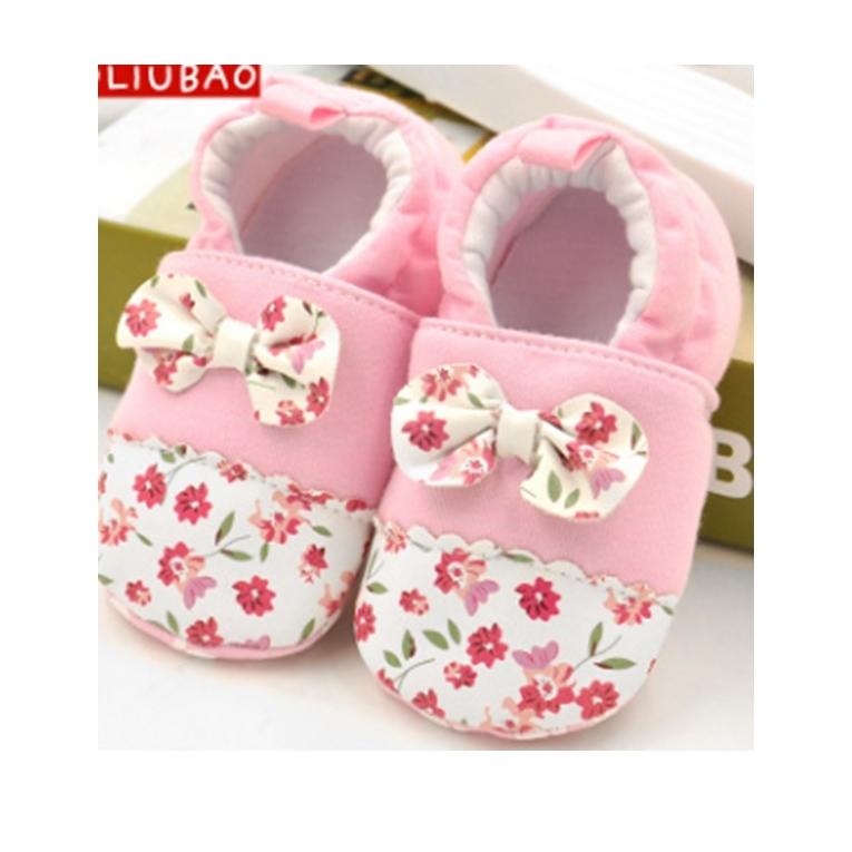 รองเท้าเด็กอ่อน 0-12เดือน รองเท้าเด็กชาย เด็กหญิง สีชมพูลายดอก