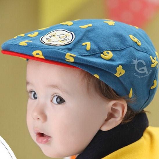 หมวกแก๊ปสีฟ้าอมเขียวตัวเลขสีเหลืองตัวเลขสีเหลืองลายตัวเลข สำหรับเด็ก 6เดือนถึง2ปี น่ารักมากๆค่ะ